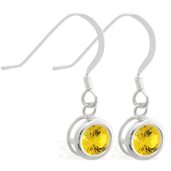 Sterling Silver Earrings with 5mm Bezel Set round 5mm Citrine