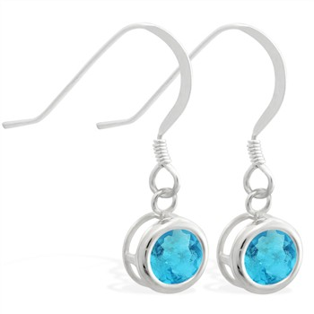 Sterling Silver Earrings with 5mm Bezel Set round 5mm Aquamarine