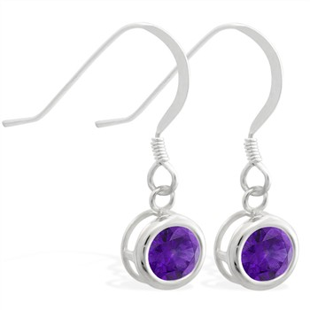Sterling Silver Earrings with 5mm Bezel Set round 5mm Amethyst