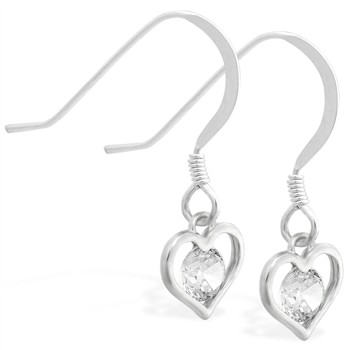 Sterling Silver Earrings with small dangling CZ jeweled heart