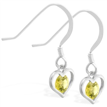 Sterling Silver Earrings with small dangling Citrine jeweled heart