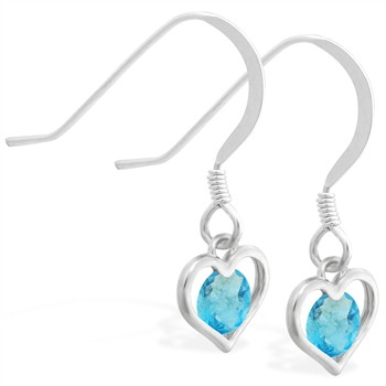 Sterling Silver Earrings with small dangling Aquamarinejeweled heart
