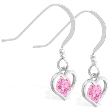 Sterling Silver Earrings with small dangling Pink Tourmaline jeweled heart