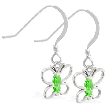 Sterling Silver Earrings with dangling Peridot jeweled butterfly