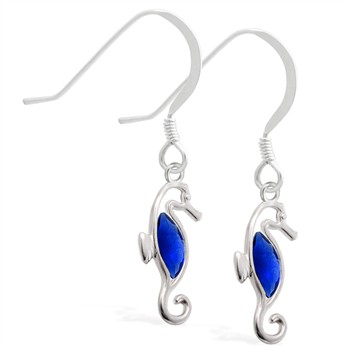 Sterling Silver Earrings with dangling Sapphire jeweled seahorse