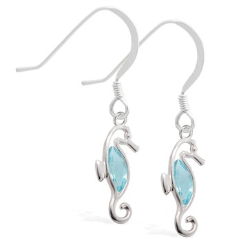 Sterling Silver Earrings with dangling Aquamarinejeweled seahorse