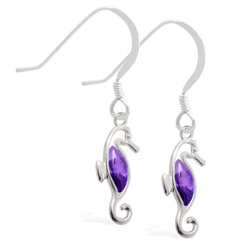Sterling Silver Earrings with dangling Amethyst jeweled seahorse