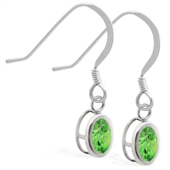 Sterling Silver Earrings with Bezel Set Peridot Oval