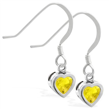 Sterling Silver Earrings with 5mm Bezel Set Citrine Heart