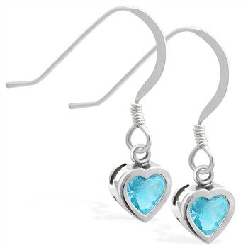 Sterling Silver earrings with 5mm Bezel Set AquamarineHeart