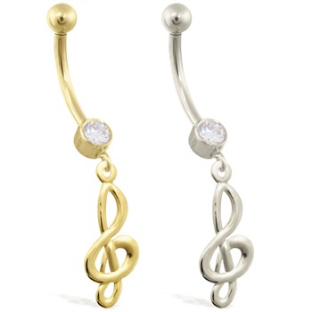 14K Gold belly ring with dangling treble clef charm