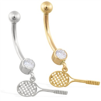 14K Gold belly ring with dangling tennis racket charm