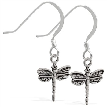 Sterling Silver Earrings with dangling dragonfly