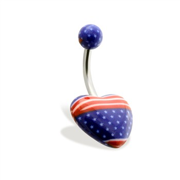 Heart Belly Ring with American Flag Print