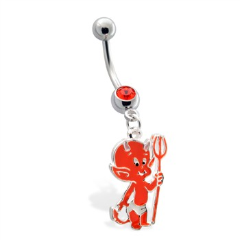 Belly Ring  with Dangling Devil Baby