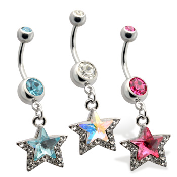 Jewled Belly Ring, with Dangling Star, AB