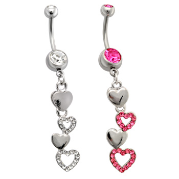 Belly Ring with Cascading Paved and Solid Hearts