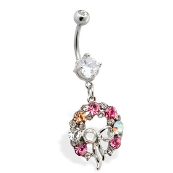 Dangling Wreath of Multi CZ with Ribbon Belly Ring
