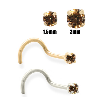 14K Gold Cognac Diamond Nose Screw