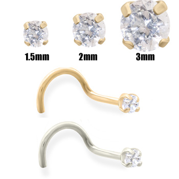 14K Gold Clear Diamond Nose Screw