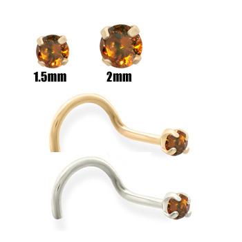 14K Gold Burnt Orange Diamond Nose Screw