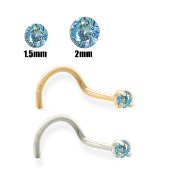 14K Gold Aqua Blue Diamond Nose Screw