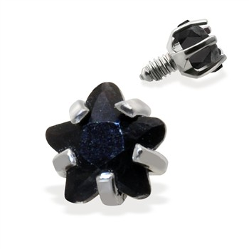 Internally Threaded Star Dermal Top, 14GA, 3mm, Black