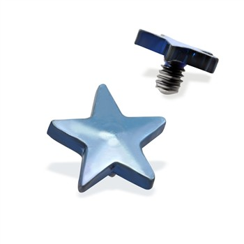Internally Threaded Titanium Star Dermal Top, 14GA, 4mm, Light Blue