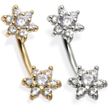14K Gold Double Flower Belly Ring, CZ