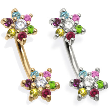 14K Gold Double Flower Belly Ring, Multicolored