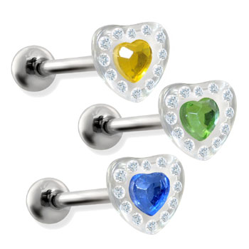 Straight barbell with acrylic paved heart, 14ga
