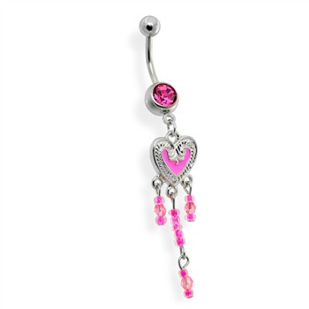 Pink Dangling Heart Belly Ring