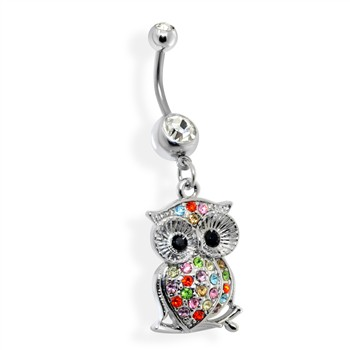 Multicolored Jeweled Owl Belly Ring