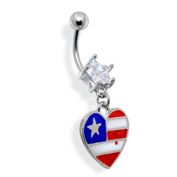 Dangling Epoxy Heart Shaped American Flag Belly Ring