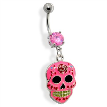 Epoxy Sugar Skull Dangle Navel Ring