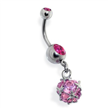 Pronged CZ Ball Dangle Navel Ring