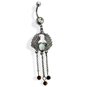 Hematite Wings with Heart Gem and Cascading Beads Dangle Navel Ring