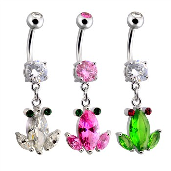 Surgical Steel Crystal Frog Dangle Navel Ring