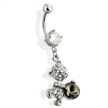 Paved Teddy Bear Navel Ring