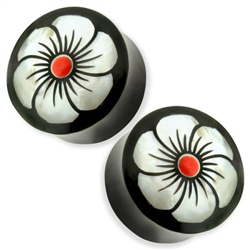 Pair Organic Buffalo Horn Saddle Fit Plugs with Red Centered Abalone Flower Inlay