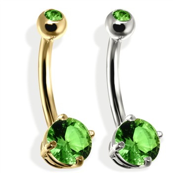 14K Gold Double Jeweled Belly Ring, Peridot