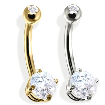 14K Gold Double Jeweled Belly Ring, CZ