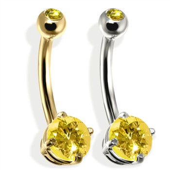 14K Gold Double Jeweled Belly Ring, Citrine
