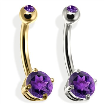 14K Gold Double Jeweled Belly Ring, Amethyst