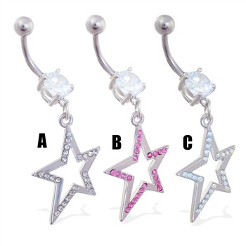 Belly ring with dangling jeweled crooked star