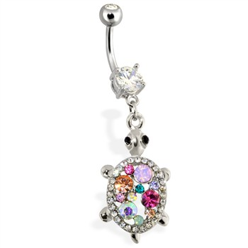 Steel Multi Color Gemmed Turtle Navel Ring