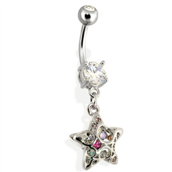 Steel 3D Star Navel Ring with Rainbow Paved CZs