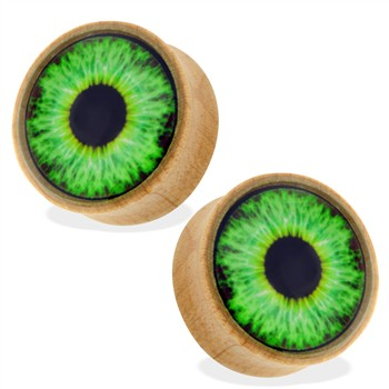 Pair Of Organic Wood Saddle Plugs with Green Eyeball