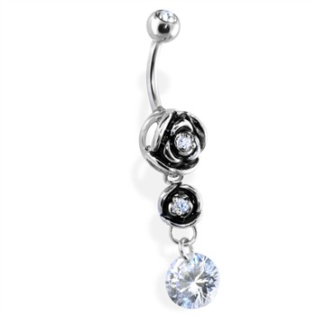 Belly Ring with Hollow Rose Dangle with Clear Gem