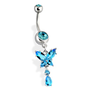 Belly Ring with Dangling Teardrop Gems and Butterfly